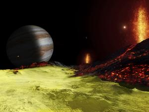 Volcanic Activity on Jupiter's Moon Io, with the Planet Jupiter Visible on the Horizon by Stocktrek Images