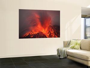 Vulcanian Eruption with Glowing Lava Bombs on Sakurajima Volcano, Japan by Stocktrek Images