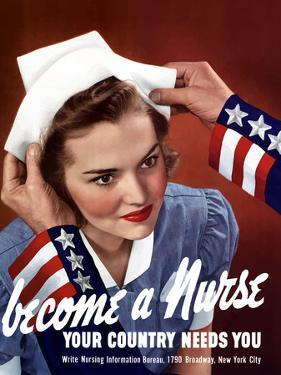 World War Two Poster of Uncle Sam Placing a Hat On a Smiling Nurse by Stocktrek Images