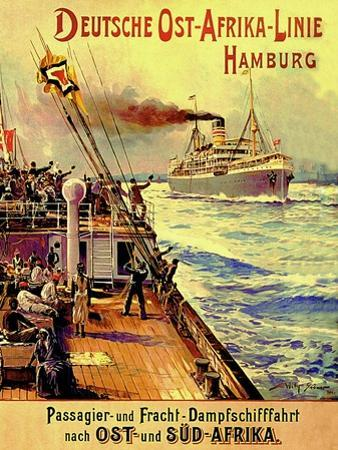 Poster Advertising the German East Africa Line, Hamburg, 1904 by Stoewer Willy