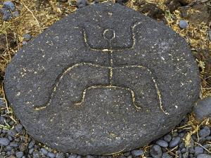 Stone Engraving, Puako Petroglyph Archaeological District, Island of Hawaii, United States