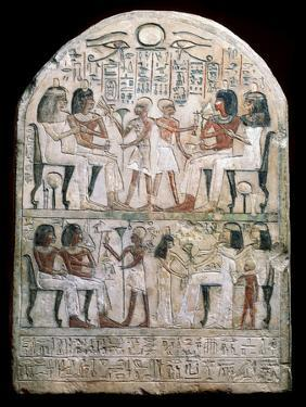 Stone Stele with a Relief, Ancient Egyptian, 156 Bc