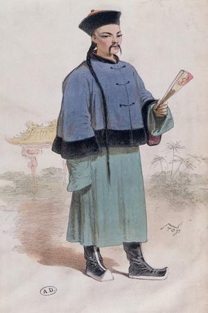 Mandarin in a Fur Trimmed Coat with Fan, C.1860