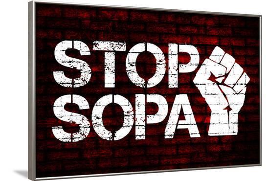 Stop SOPA Fist Poster--Framed Poster