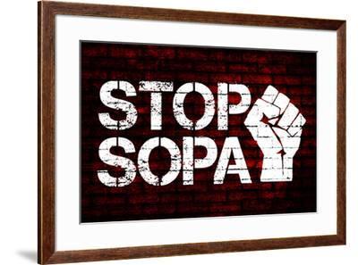 Stop SOPA Fist--Framed Art Print