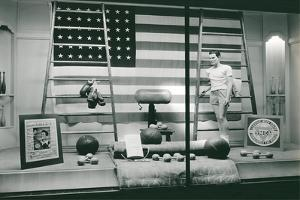 Store Window with Gym Equipment