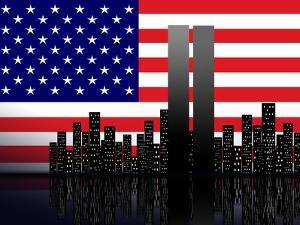 New York Silhouette against the Background of the American Flag by STori