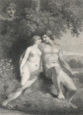Adam and Eve Watched by an Angel by Stow