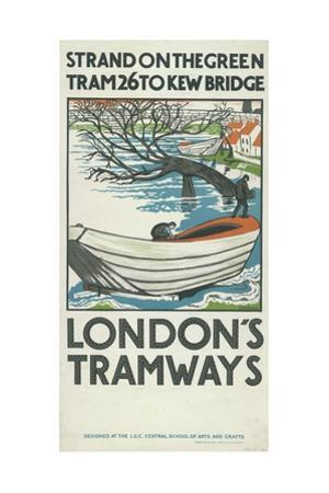 Strand on the Green, Tram 26 to Kew Bridge, London County Council (LC) Tramways Poster, 1924 by M Haythorne