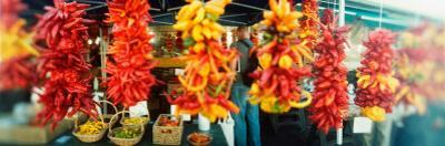 Strands of Chili Peppers Hanging in a Market Stall, Pike Place Market, Seattle, King County, WA