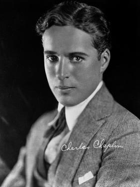 Charlie Chaplin in a Gray Suit and Tie with Signature by Straus Peyton