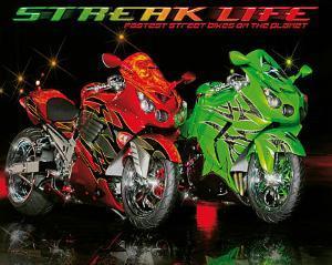 Streak Life (Red & Green Motorcycles) Art Poster Print