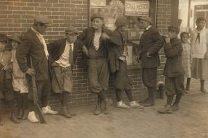 Street Gang of Cigarette Smoking Youths in Springfield, Ma. 1916