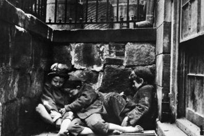 Street Kids Huddle Together on Mulberry Street