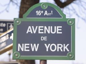 Street Sign for Intersection of Avenue De New York in Paris, France