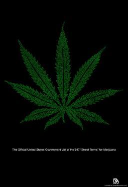 Street Terms For Marijuana Text Poster