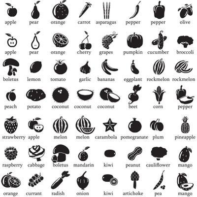 Set of Fruits and Vegetables Icons by strejman