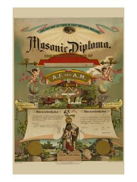 Symbols - Masonic Diploma by Strobridge & Gerlach