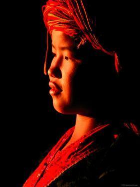 Atmospheric Portrait of Palaung Girl Wearing Headdress, Myanmar by Stu Smucker