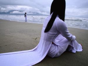 School Girls Watch Tropical Storm Approach Vietnam's Central Coast, Da Nang, Vietnam by Stu Smucker
