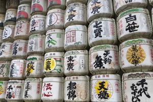 Barrels of Sake Wrapped in Straw at the Meiji Jingu, Tokyo, Japan, Asia by Stuart Black