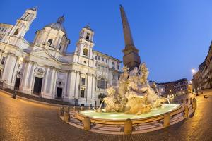 Bernini's Fountain of the Four Rivers and Church of Sant'Agnese in Agone at Night by Stuart Black