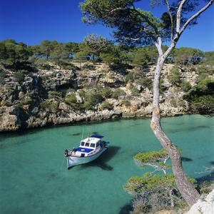 Boat Anchored in Rocky Inlet, Cala Pi, Mallorca, Balearic Islands, Spain, Mediterranean by Stuart Black