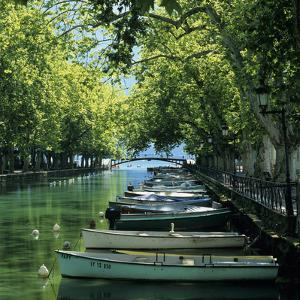 Boats Along Canal, Annecy, Lake Annecy, Rhone Alpes, France, Europe by Stuart Black