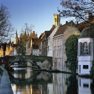 Canal View with Belfry in Winter, Bruges, West Vlaanderen (Flanders), Belgium, Europe by Stuart Black