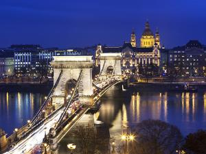 Chain Bridge and St. Stephen's Basilica at Dusk, UNESCO World Heritage Site, Budapest, Hungary, Eur by Stuart Black
