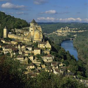 Chateau De Castelnaud and View over Dordogne River and Chateaux of Beynac, Castelnaud La Chapelle,  by Stuart Black