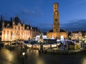 Christmas Market in Market Square with Belfry Behind, Bruges, West Vlaanderen (Flanders), Belgium by Stuart Black