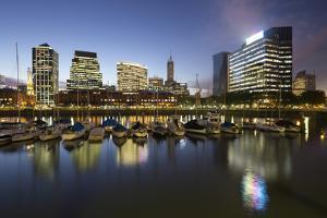 City skyline from marina of Puerto Madero at night, San Telmo, Buenos Aires, Argentina, South Ameri by Stuart Black