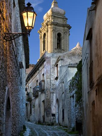 Cobbled Alleyway at Dusk, Erice, Sicily, Italy, Europe by Stuart Black
