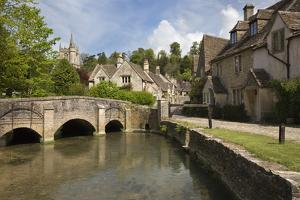 Cotswold Cottages on by Brook, Castle Combe, Cotswolds, Wiltshire, England, United Kingdom, Europe by Stuart Black