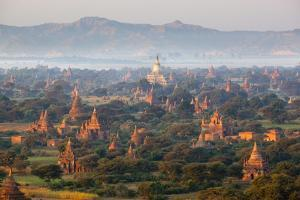Dawn over Ancient Temples from Hot Air Balloon by Stuart Black