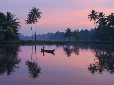 Dawn over the Backwaters, Near Alappuzha (Alleppey), Kerala, India, Asia