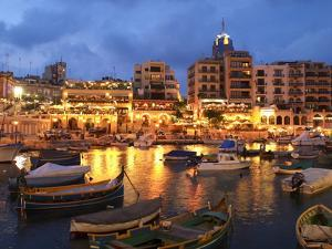 Evening across Spinola Bay with Restaurants, St. Julian`S, Malta, Mediterranean, Europe by Stuart Black