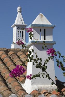 Filigreed chimney pots and Bougainvillea, Algarve, Portugal, Europe by Stuart Black