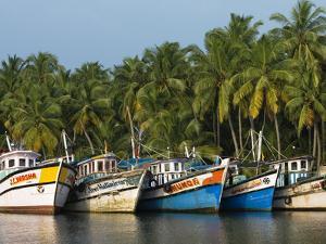 Fishing Boats Along the Backwaters, Near Alappuzha (Alleppey), Kerala, India, Asia by Stuart Black