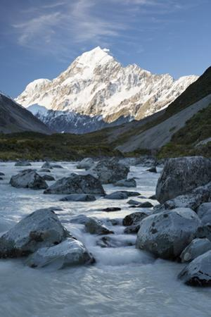 Hooker Valley and River with Mount Cook, Mount Cook National Park, Canterbury Region by Stuart Black