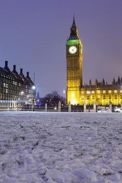 Houses of Parliament and Big Ben in Snow by Stuart Black