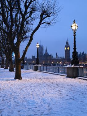 Houses of Parliament and South Bank in Winter, London, England, United Kingdom, Europe by Stuart Black