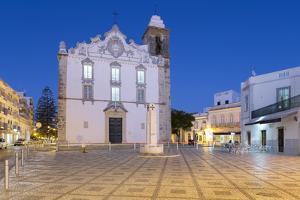 Igreja Matriz parish church at night, Olhao, Algarve, Portugal, Europe by Stuart Black