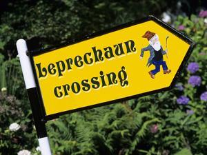 Leprechaun Crossing Signpost, County Kerry, Munster, Republic of Ireland, Europe by Stuart Black