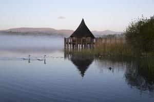 Llangorse Lake and Crannog Island in Morning Mist by Stuart Black