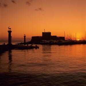 Mandraki Harbour at Sunrise, Rhodes Town, Rhodes Island, Dodecanese Islands, Greek Islands, Greece by Stuart Black