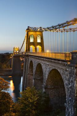 Menai Suspension Bridge at Night, Built in 1826 by Thomas Telford, Bangor, Gwynedd, Wales, UK by Stuart Black