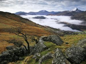 Mist over Llyn Gwynant and Snowdonia Mountains, Snowdonia National Park, Conwy, Wales, United Kingd by Stuart Black