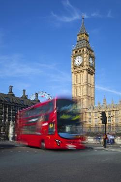 Motion Blurred Red London Bus Below Big Ben by Stuart Black